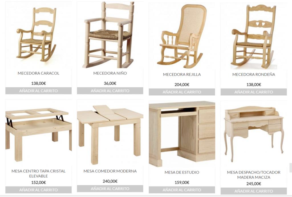 Tienda de muebles de madera en almeria sin pintar sillas for Catalogo de muebles de madera